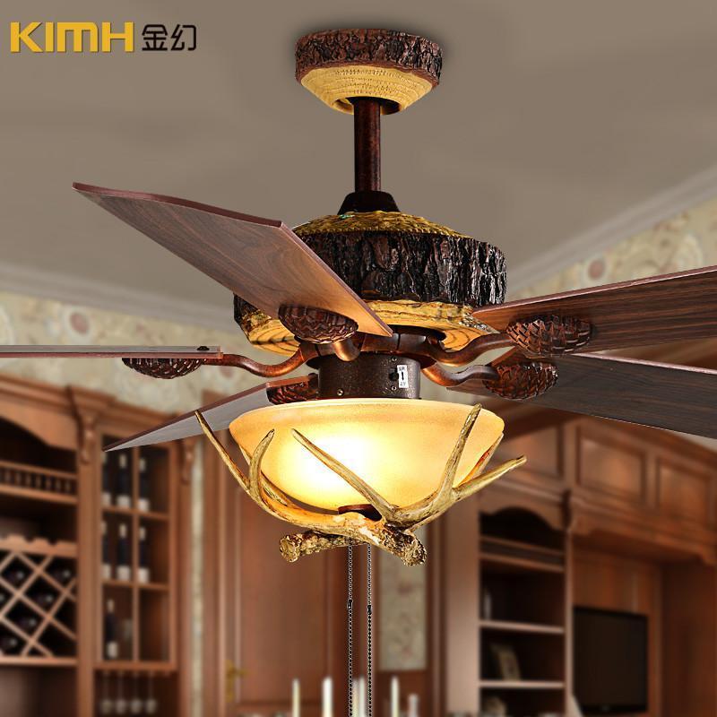 金幻复古欧式风扇灯木质扇叶吊扇灯简约吊灯灯具客厅灯客厅装饰灯 52