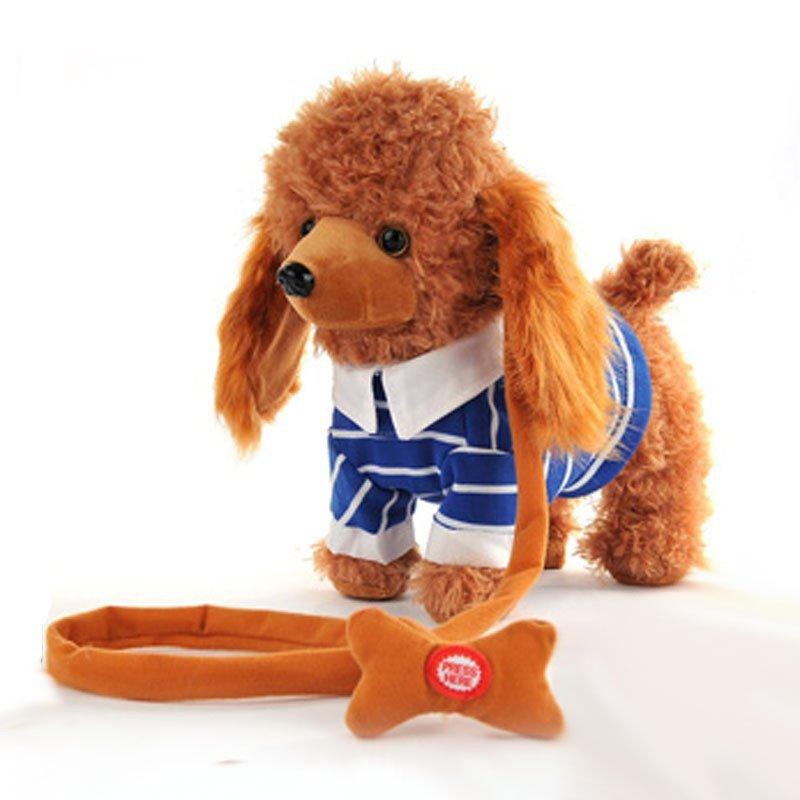 儿童电动牵绳狗毛绒玩具狗走路小狗音乐机械遥控狗狗玩具电子宠物狗