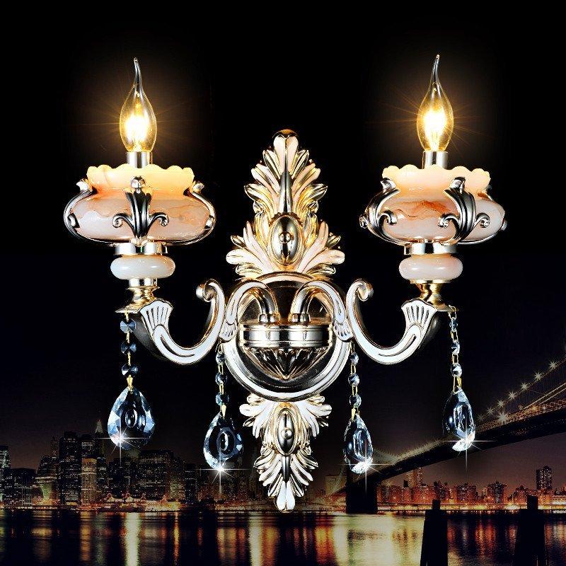 奢华欧式玉石水晶灯锌合金壁灯客厅餐厅