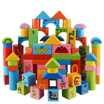 星塔120颗粒卡通数字字母木制积木玩具