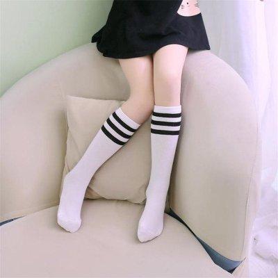 喜安贝 儿童纯棉黑白条纹中筒袜时尚运动高筒袜宝宝长袜男童女童足球