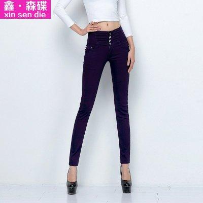 2015春秋新款女士韩版大码显瘦潮糖果色小脚铅笔牛仔裤c0095 深紫色 3