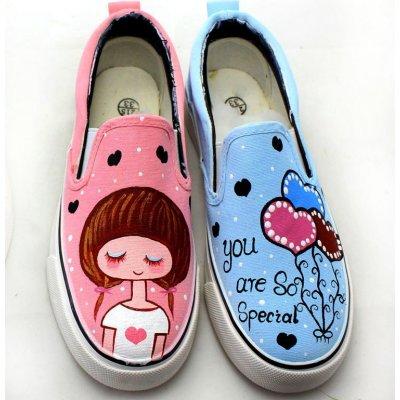 牛牛手绘鞋儿童帆布鞋球鞋