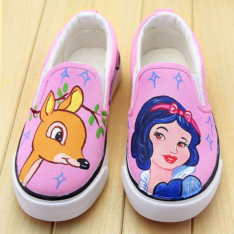 牛牛手绘鞋2015新款亲子鞋卡通女童儿童帆布鞋