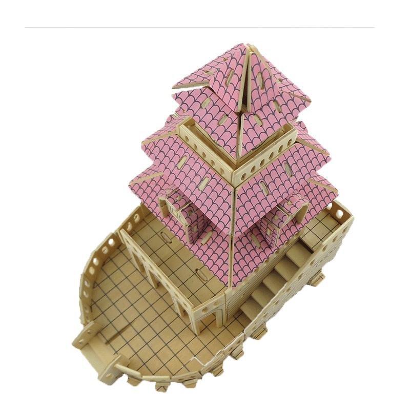 魔法屋 木制仿真拼图3d建筑类木质diy小屋别墅益智手工儿童玩具