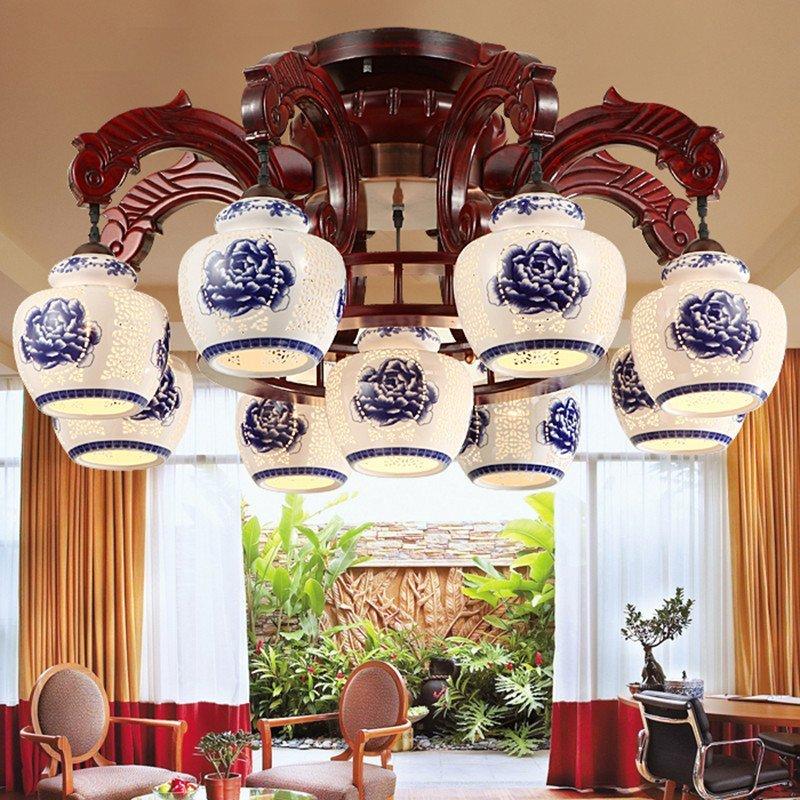 陶瓷灯仿古灯具 中式实木吊灯客厅餐厅古典酒店工程大灯8052图片