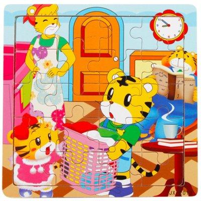 意特朗 儿童木质拼图20片益智玩具 幼儿宝宝卡通动画 巧虎