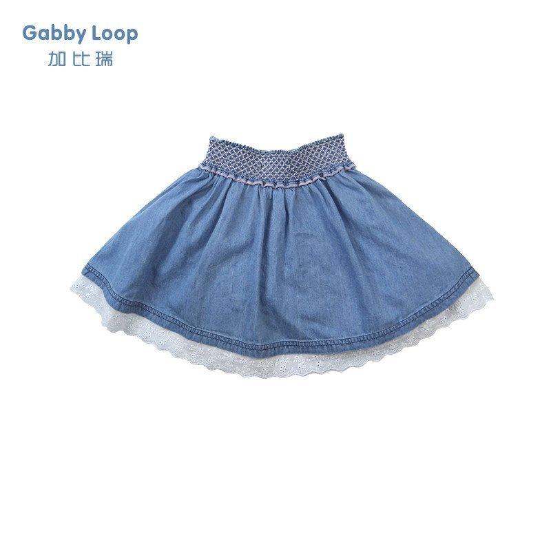加比瑞童装 韩版女童夏装短裙中大童儿童牛仔短裙半身裙百褶裙子