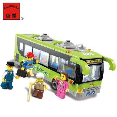 【拼插积木】启蒙代表意思系列玩具公交车益上什么图纸城市施工城市承台的图片