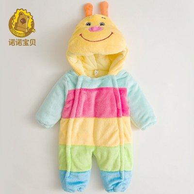 诺诺宝贝童装男女宝宝冬装 儿童糖果色可爱笑脸哈衣 婴幼儿外出爬服