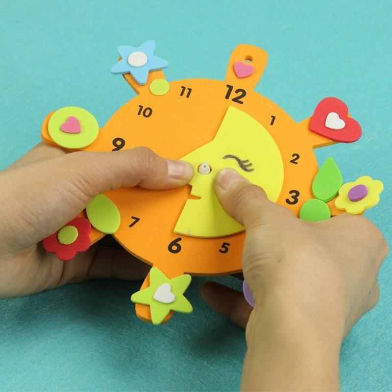 手工创意钟表 儿童益智diy玩具幼儿园手工制作eva材料高清实拍图