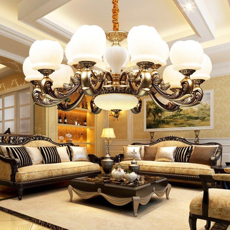 臻承 美式客厅大吊灯 欧式复古锌合金灯具 大气云石复式楼仿古灯饰