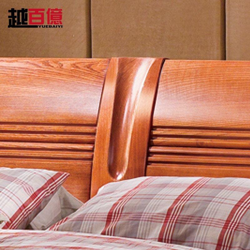 越百亿 美国红橡全实木床1.8米双人床单人床1.5储物中式成人婚床