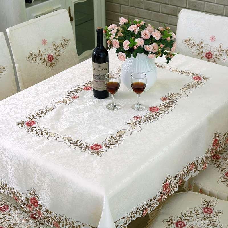 布艺欧式绣花餐桌布台布茶几桌旗椅子套椅垫套装桌布