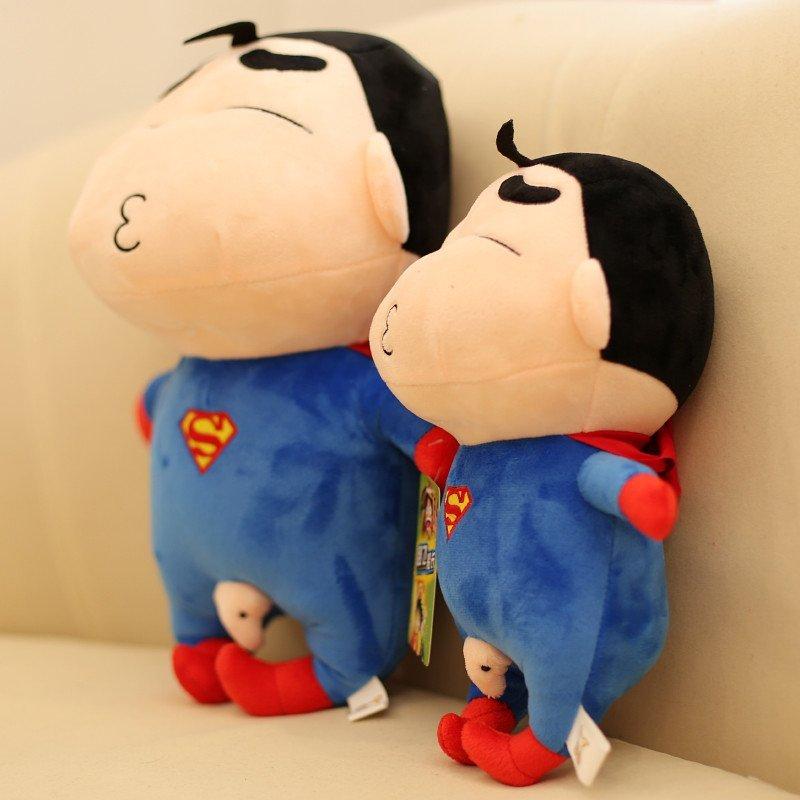 美国队长公仔蜡笔小新毛绒玩具变身蝙蝠侠毛绒玩偶女