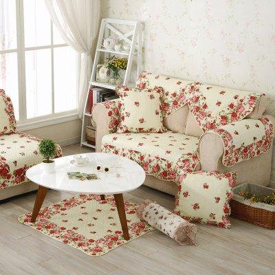 布艺田园沙发垫贵妃坐垫简约四季用欧式绗缝皮沙发巾