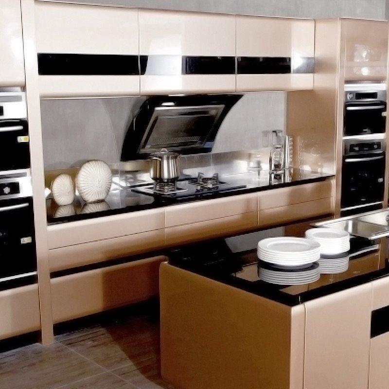 乐宜嘉 整体橱柜定制现代烤漆门板土豪金定做岛台厨房时空幻境 定金