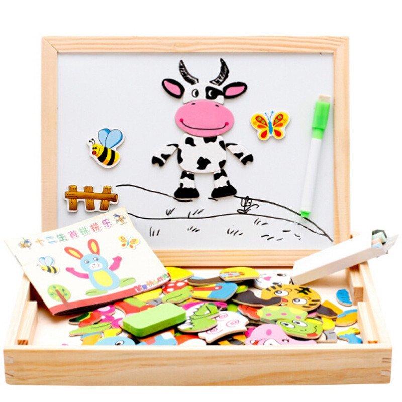 儿童十二生肖动物磁性木制双面拼图拼板 宝宝幼儿小黑板画板 早教益智