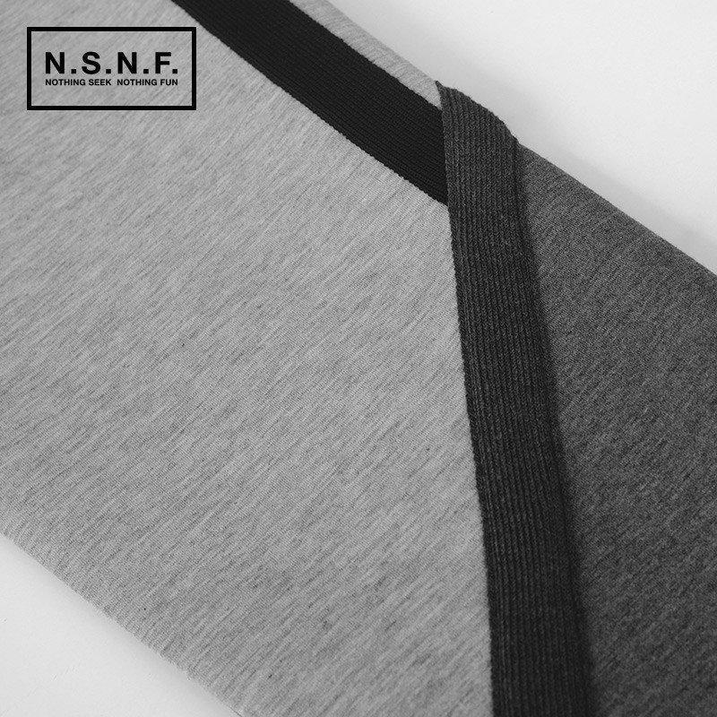 nsnf2015秋冬设计师款简约时尚黑灰拼太空棉卫衣男 s 黑灰色高清实拍