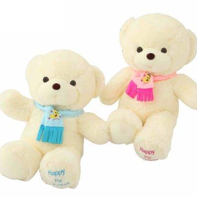 围巾泰迪熊抱抱熊公仔送女生送闺蜜生日礼物情侣熊 蓝围巾熊