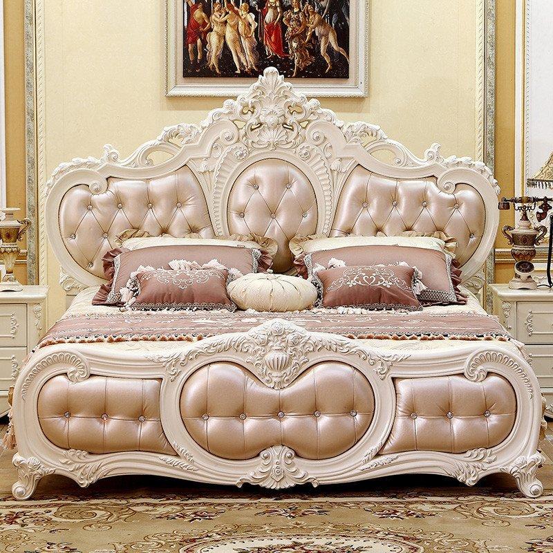家具 欧式床双人床 现代法式床 美式田园公主床 橡木实木 .奢华雕花