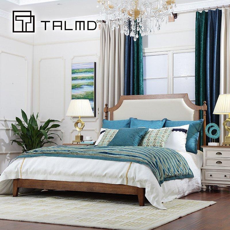 简约美式风格布艺软包舒适双人床婚床高档卧室家具