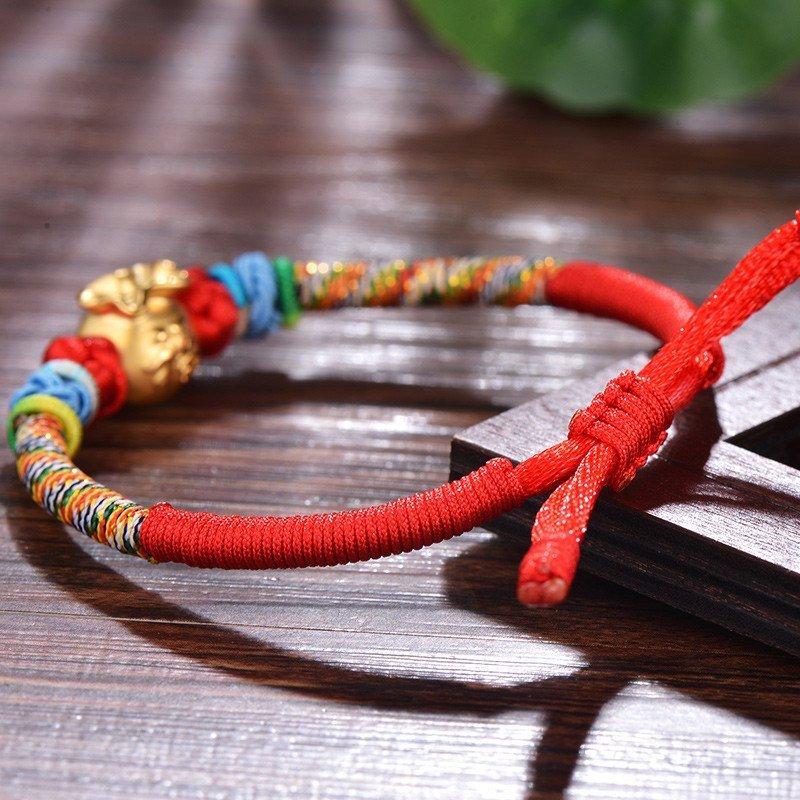 蒂蔻 黄金福袋手链女3d硬金转运珠红绳手工编织儿童宝宝足金手链首饰