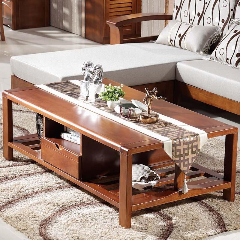 进口橡木 中式实木 l型木质贵妃沙发 布艺坐垫 大户型 小户型 客厅