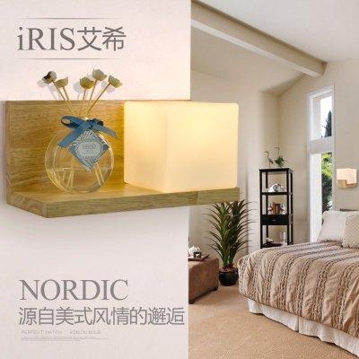 美式简约床头灯创意卧室壁灯阳台楼梯过道灯现代个性中式壁灯实木木质