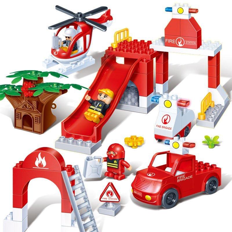 邦宝布局9638滑梯系列消防图纸车紧急导入大鲁班出动怎么cad积木城市的图片