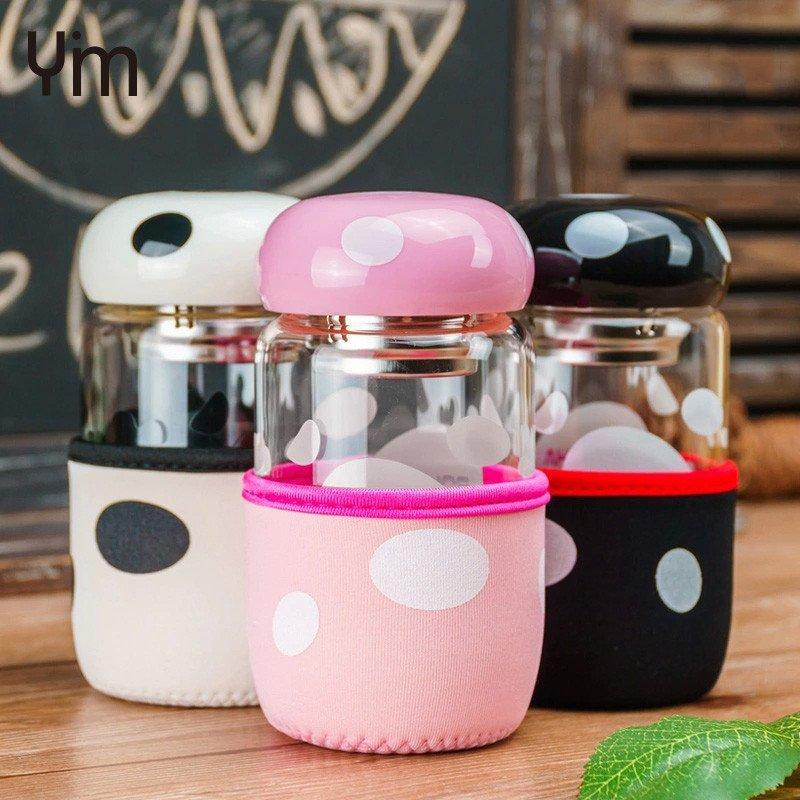 伊鸣 可爱蘑菇玻璃杯呆萌便携带盖过滤茶漏杯套学生创意个性小水杯子