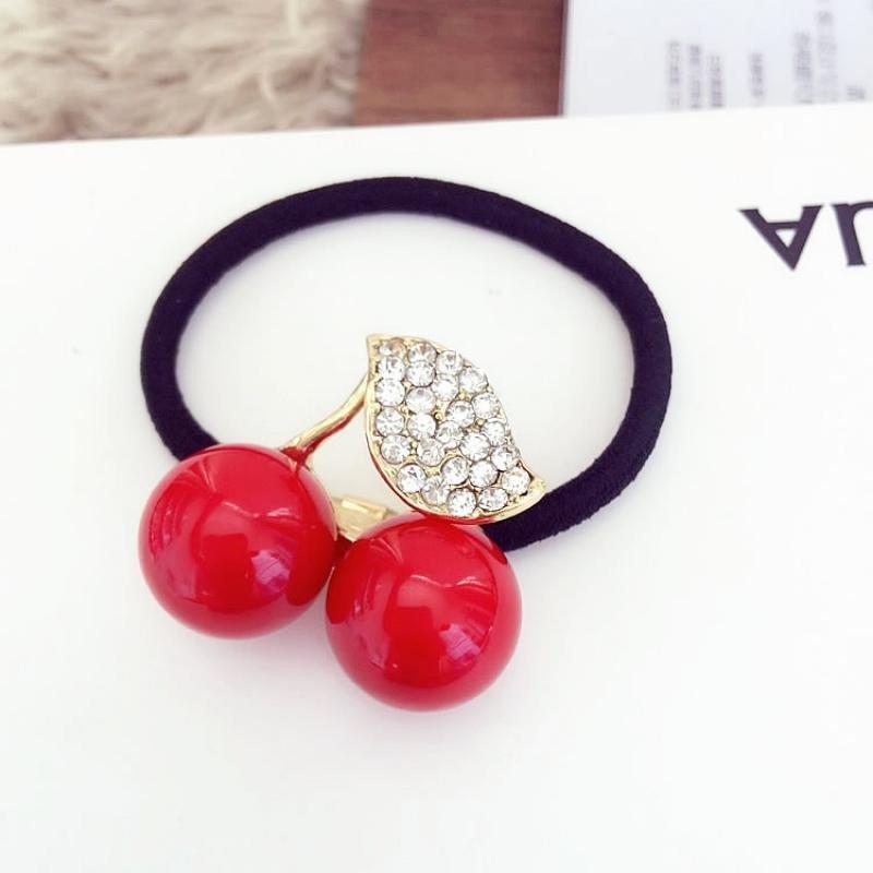 头饰品发饰 小清新可爱水钻樱桃发绳 韩版发圈 头绳皮筋 红色.