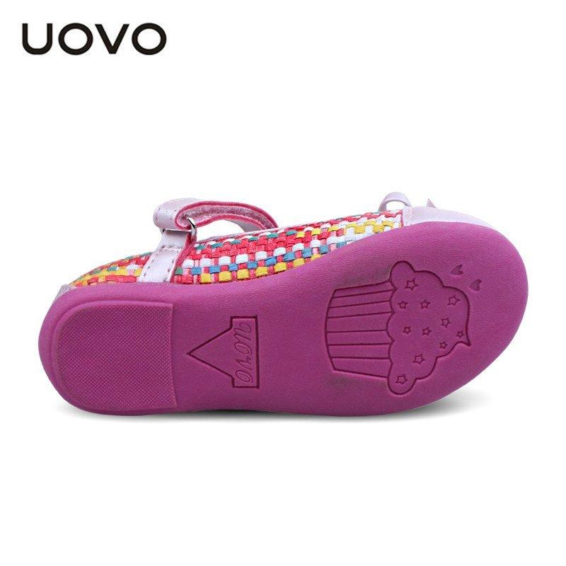 uovo女童休闲鞋2016春季新款中小儿童童鞋搭扣编织公主鞋 粉红色(清新