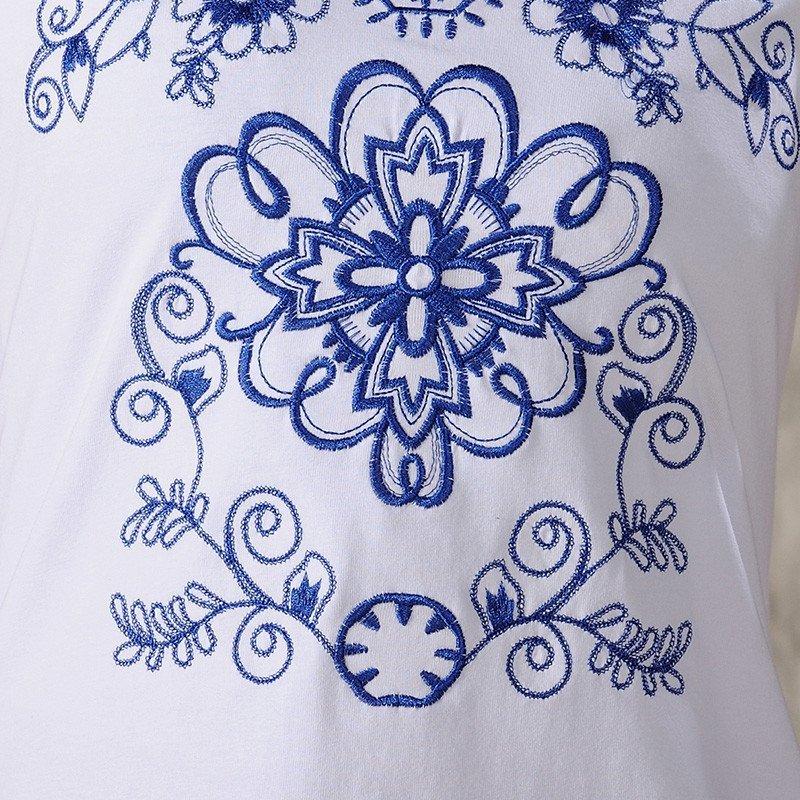 羊致2016女装春夏新款民族风青花瓷绣花短袖t恤 xl 白色高清实拍图