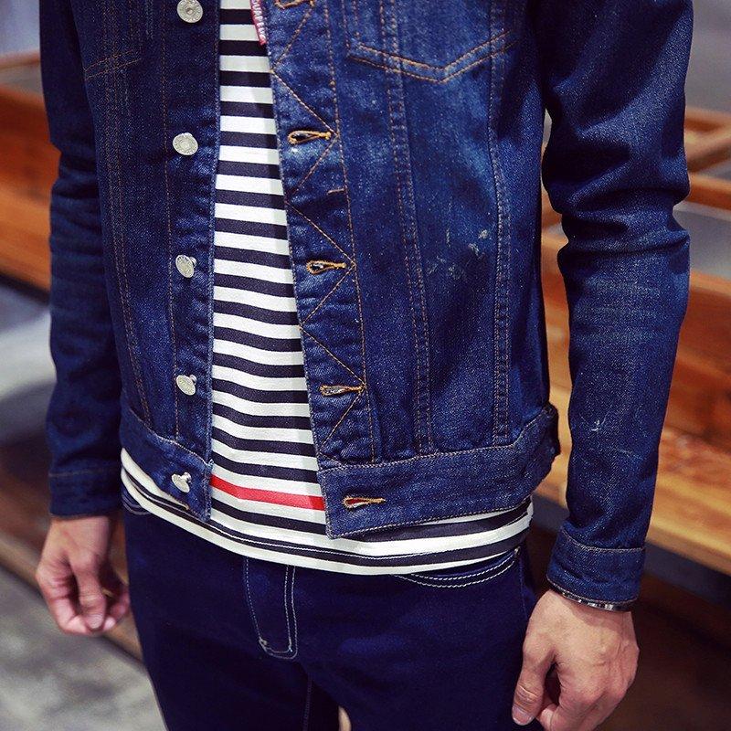 新款男士修身外套时尚潮流韩版青春单色休闲牛仔夹克男418 l 深蓝色