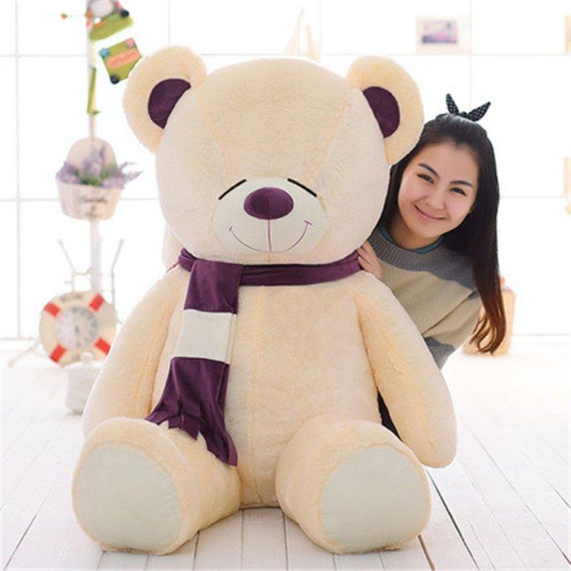 泰迪熊公仔心动围巾抱抱熊毛绒玩具可爱娃娃玩偶生日礼物女 95cm 眯眼
