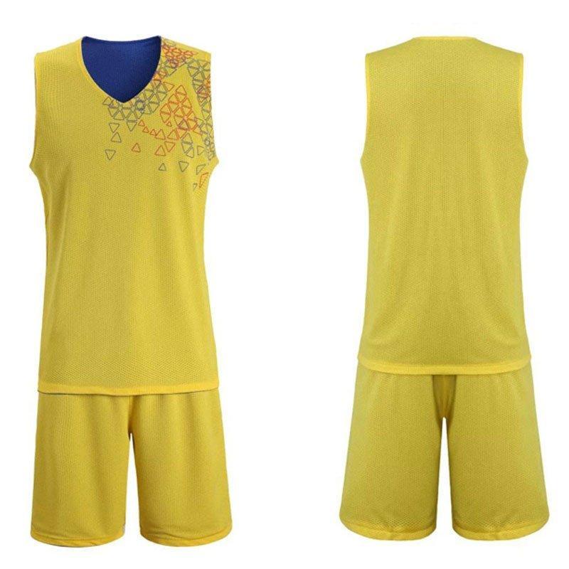 户外运动服装 篮球服套装 篮球服定做团购 xl 黄配彩蓝色图片