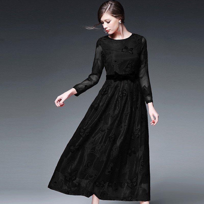 连衣裙春长袖黑色