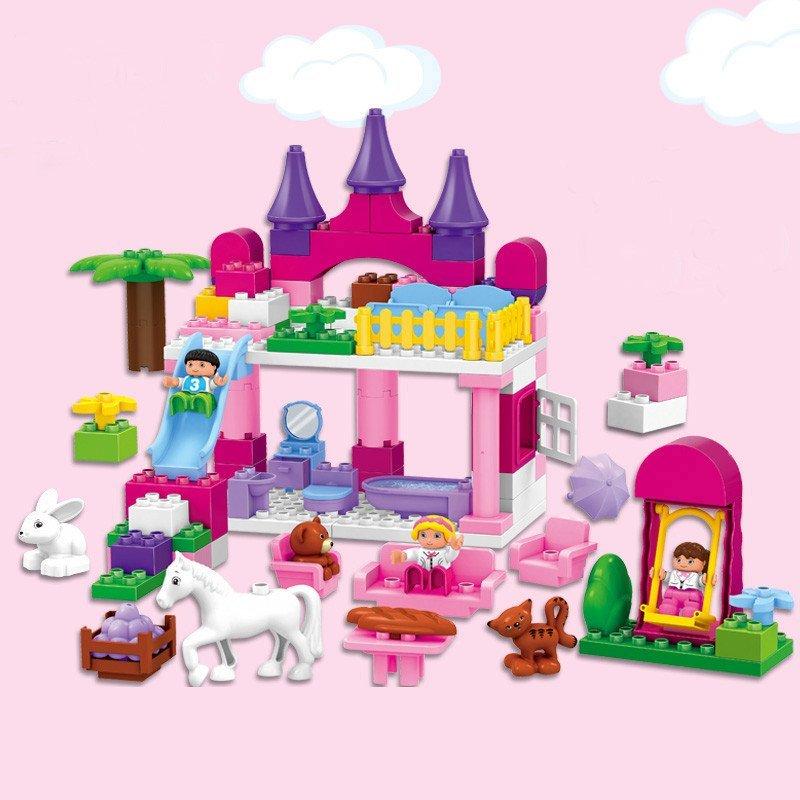 惠美 女孩玩具拼插积木 儿童拼装积木玩具 大颗粒益智