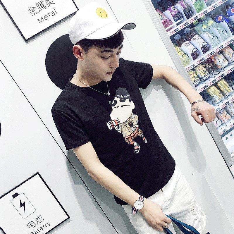 uyuk韩版纯棉男士可爱小动物印花短袖t恤潮 l 桔红色高清实拍图