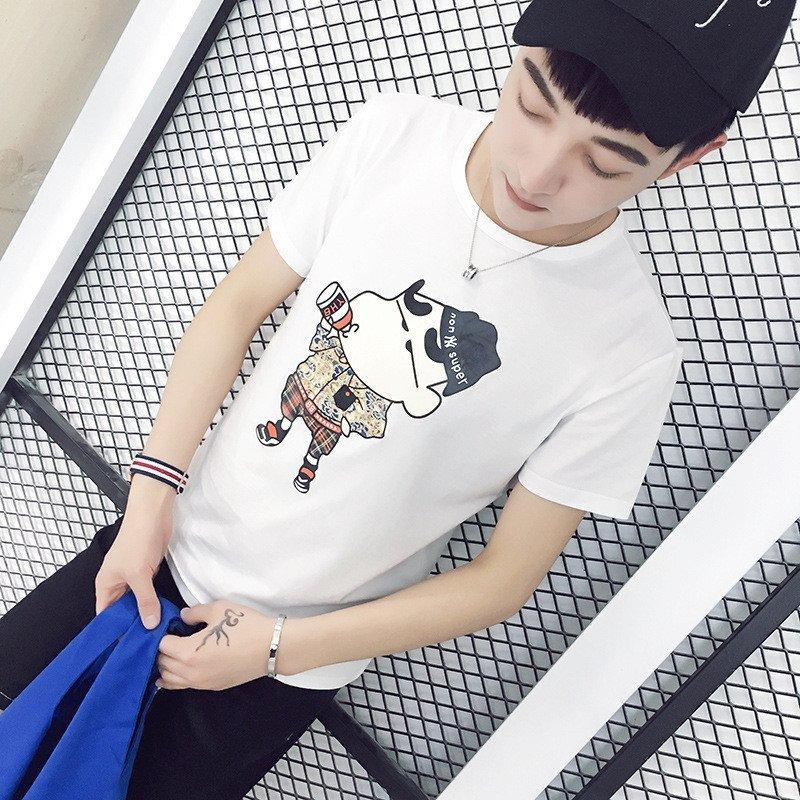 uyuk韩版纯棉男士可爱小动物印花短袖t恤潮 l 白色高清实拍图
