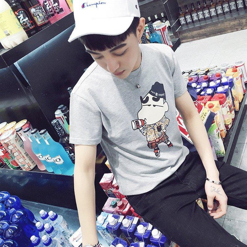 uyuk韩版纯棉男士可爱小动物印花短袖t恤潮 l 灰色高清实拍图
