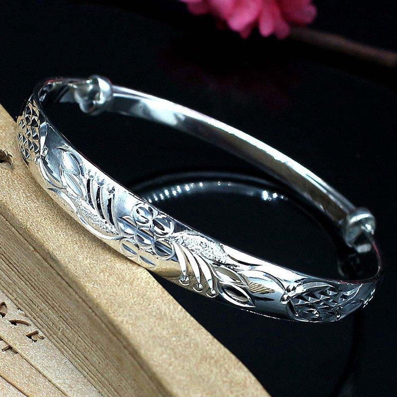 樱拉 银手镯足银镯子 雕刻荷花图案中国风推拉足银镯子 送妈妈礼物
