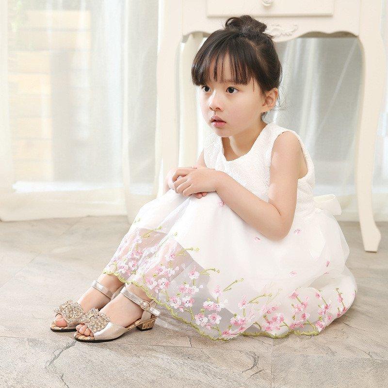 女童凉鞋高跟鞋 2016夏新款小女孩公主鞋水钻蝴蝶结露趾儿童鞋子