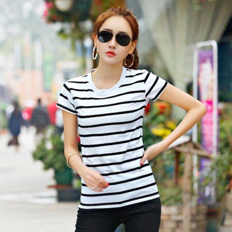 【金宅系列】恤衫设备t短袖女黑白新款条纹打ios女装v恤衫