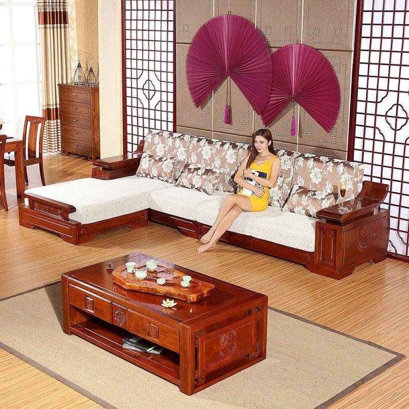 创未 实木沙发水曲柳 现代中式客厅组合沙发贵妃组合 储物水曲柳沙发