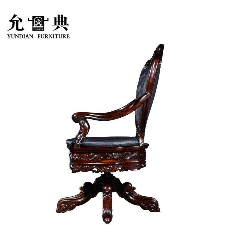 允典红木家具 红酸枝欧式洋花转椅 老板椅 老板转椅 红酸枝(栗壳色)