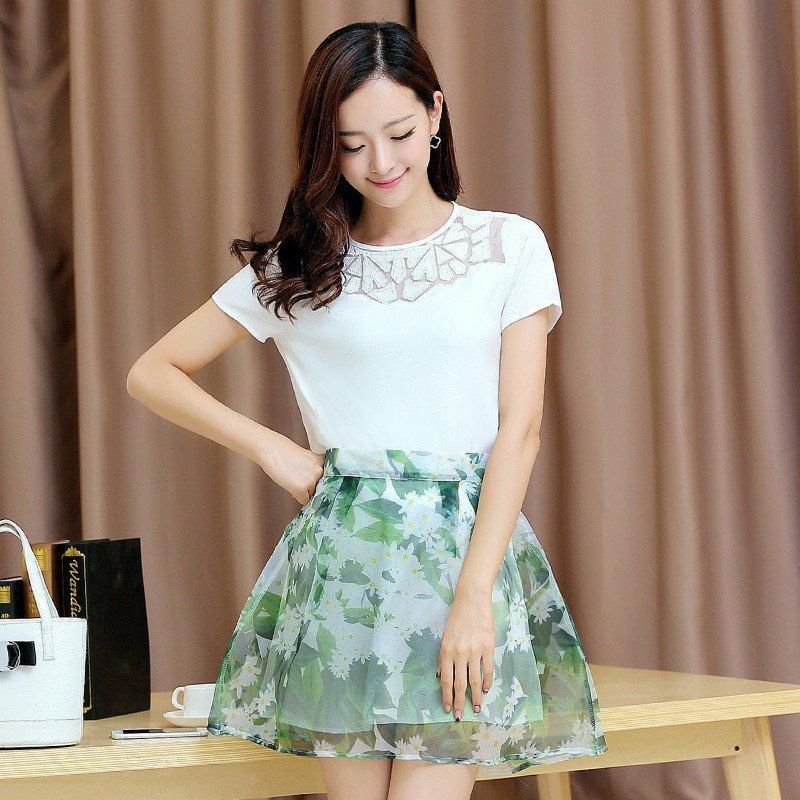 2016夏季时尚套装裙夏 女a字短裙夏季新款女装雪纺裙装两件套连衣裙图片