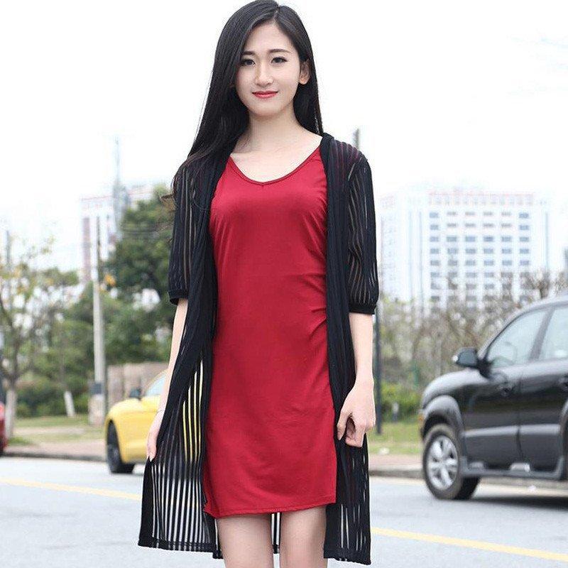 2016夏季新款韩版防晒针织开衫外套中长款镂空披肩百搭背心裙两件套连