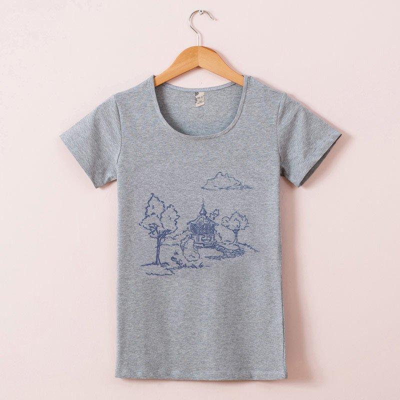 俏艺 夏季新款 文艺风风景印花图案棉短袖修身圆领t恤女 3521 xl 灰色